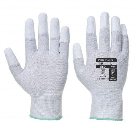 Gant manutention antistatique nylon/fibre carbone, doigts enduit